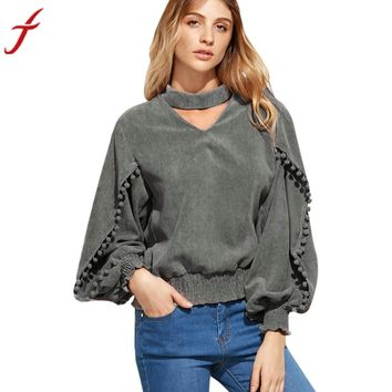 Women Blouses Hanging Neck Long sleeve Sexy V-Neck Shirt Top Casual Gray Loose Ladies Blusas