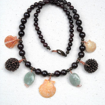 Chinese Garnet and Brass Necklace,Beaded Sea Shells Necklaces,Teal Glass Necklaces