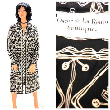 1960s Oscar de la Renta dress / size M / vintage 60s designer de la Renta abstract shirt dress / SunnyBohoVintage