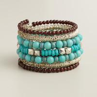 Turquoise and Silver Coil Bracelet - World Market