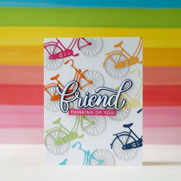Bicycle Friend Words Metal Cutting Dies For Scrapbooking Embossing Decorative Crafts Supplies DIY Paper Cards Making New 2018