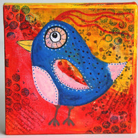 Quirky Bird Mixed Media Painting, Original Artwork on 6 x 6 Canvas, Acrylic Painting, Home Decor, Children's Room Art, Wall Hanging