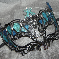 """Shades of Turquoise and Black"" Metallic Mask"