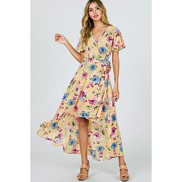 Gardens of Paradise High Low Wrap Dress - Lemon