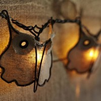 Burlap Owl String Lights