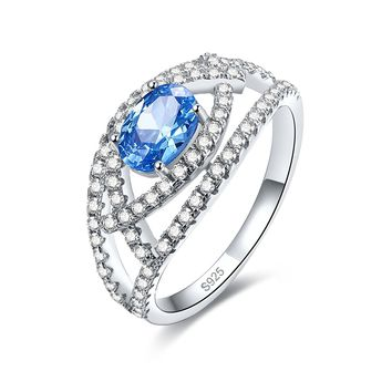 Merthus Blue Topaz Pave Womens Band CZ Ring Jewelry 925 Sterling Silver