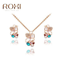 ROXI New Year Gift Crystal Vintage Set to Girlfriend 100% Man-made Fashion Gold Jewelry  Colorful Earrings+Necklace for Wedding