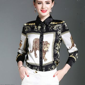 2017 new long sleeve animal tiger print satin shirts women office work print satin chiffon blouses lady slip satin print tops