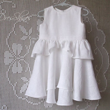 White linen baby girl sleeveless dress with lace and bloomers Ruched first birthday outfit asymmetric hemline