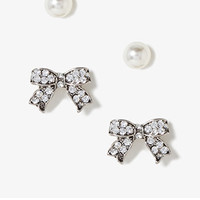 FOREVER 21 Rhinestoned Bow Earring Set