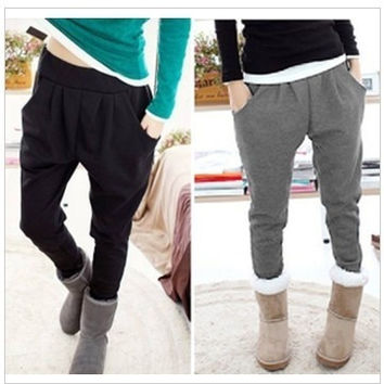 9122  new winter solid color plus velvet harem pants casual pants = 1920150916