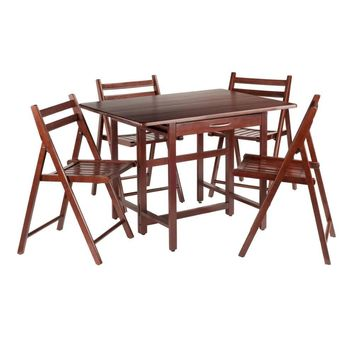 Taylor 5-Pc Set Drop Leaf Table w/ 4 Folding Chairs