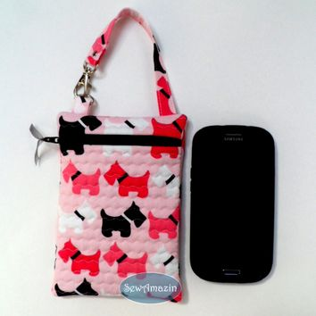 Scottish Terrier Quilted Gadget Case, Cell Phone Pouch, Pink Scottie Dogs