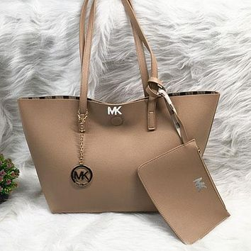 Michael Kors Women Fashion Leather Handbag Shoulder Bag Satchel Two Piece Set