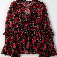 AE Bell Sleeve Printed Ruffle Chiffon Top, Red