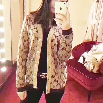 '' Gucci '' Trending Fashion Casual Women Gold wire Crochet Buttons Cardigan Knitwear Brown G
