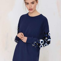 Nasty Gal Heavy Petal Beaded Sweatshirt