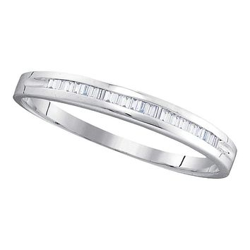 10kt White Gold Women's Baguette Diamond Wedding Anniversary Band 1/6 Cttw - FREE Shipping (US/CAN)