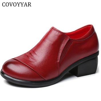 COVOYYAR 2017 Genuine Leather Women Shoes Thick Med Heels Work Dress Shoes Pumps Sprin