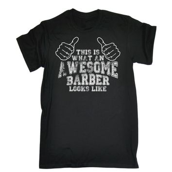 "Professional ""Awesome Barber"" Graphic Print Barber T-Shirt"