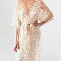Kiss Long Embroidered Sheer Tulle Robe w/Charmeuse Trim (Nightgown available) (XS-Large)
