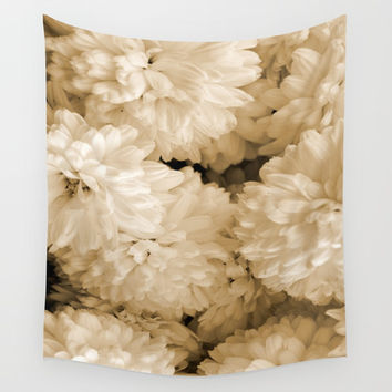 Monochrome Abstract Mums Wall Tapestry by ARTbyJWP