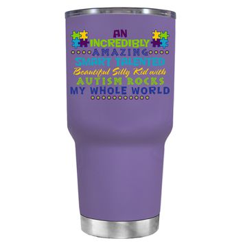 TREK An Amazing Smart Talented Kid with Autism on Lavender 30 oz Tumbler Cup