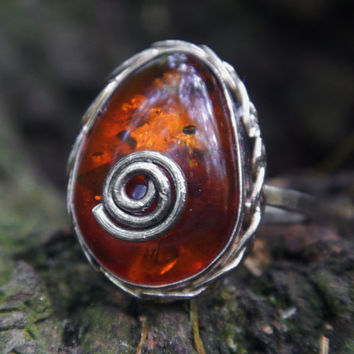 Amber and Sterling Silver Braided Bezel Rivet Ring