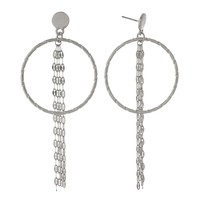 Lorna Circle & Chain Earrings - Silver
