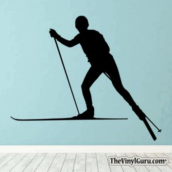 Skiing Wall Decal - Ski Sticker #00024