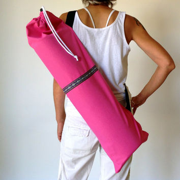 PINK Yoga / Pilates mat bag......Pink / Purple /  White / Black woven aztec stripe 100% strong cotton CANVAS. Re-enforced stitching