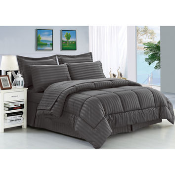 Wrinkle-Resistant Soft Down-Alternative 8-Piece Bed in a Bag Comforter Set