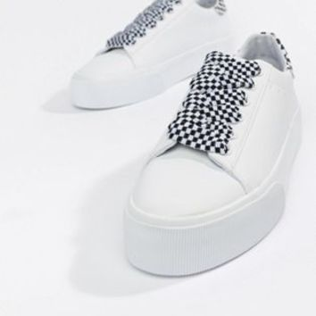 Pull&Bear check lace up flatform sneaker in white at asos.com