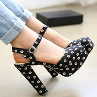 2015 Womens Square Closed Toe Black Flower Floral Print Platform Chunky Ultra Super High Heel Shoes Mary Jane Slingback Sandals