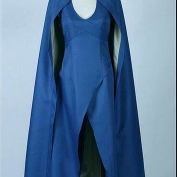 Daenerys Targaryen Game of Thrones Costume Blue Dress Cloak A Song Of Ice And Fire Movie Cosplay Halloween Costumes For Women