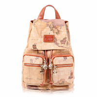 Unique World Map Printing Bucket-shaped Travel Backpack