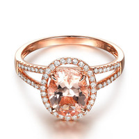 Ready to Ship - Oval Morganite Engagement Ring Pave Diamond Wedding 14K Rose Gold 6x8mm Split Shank