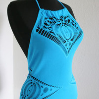 90s CSS M electric blue one peice halter sexy cut out macrame swimsuit full cove
