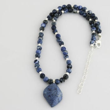 Denim Lapis Pendant Necklace on Beaded Strand of Blue Sodalite and Silver Beads