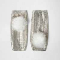 Cream metallic knit pom pom handwarmers - gloves - accessories - women