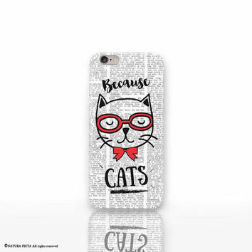 Nerdy Cat iPhone X case - iPhone 8/8 Plus case - iPhone 7/7 Plus case - iPhone 6/6 Plus case- iPhone 5/5S case- Galaxy-Huawei case-NP3D207
