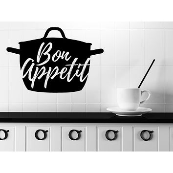 Unique Gift Wall Vinyl Decal Quote Words Kitchen Tools Bon Appetit Kitchen Sticker n1139