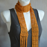 Gold Yellow Skinny Scarf, Stylish Cotton Scarf, Knit Jewerly, Vegan Scarf, Loose Knit Trendy Scarf, Dark yellow fringe scarf,  Gift for Her