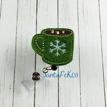 Hot Cocoa Felt Badge Holder with Retractable Badge Reel. A great gift for yourself or for your favorite nurse, teacher, coworker