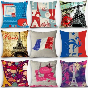 Cheap car seat linen throw pillow Nordic Vintage outdoor chair cushions home decor Paris London printed pillow 45x45cm MYJ-I5