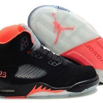 New Nike Air Jordan 5 Retro Kids Shoes Black Grey Pink