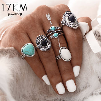 17KM 5 Pcs/Set  Antique Gold /Silver Bohemian Midi Ring Set Vintage Steampunk Anillos Knuckle Rings For Women Boho Jewelry