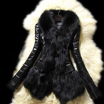 Women's Winter Warm Leather Jacket Coat Fashion Long Faux PU Leather Coat Parka Fur Collar Thick Cotton Quilted Jacket Black L3