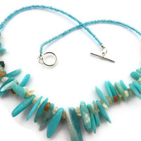 amazonite necklace, Turquoise shards peruvian amazonite,  moonstone chips, silver plate toggle clasp