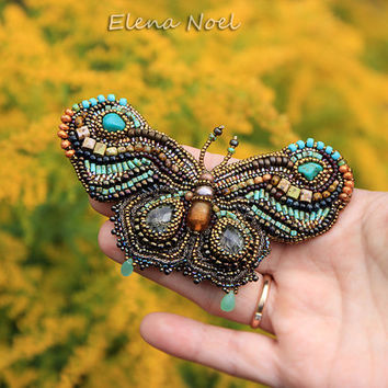 cdb7a573860 Turquoise butterfly. Beaded embroidered butterfly brooch. Bead Embroidery  Art.